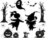 De zwarte pictogrammen van Halloween voor jonge geitjes Stock Foto's