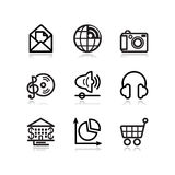 De zwarte pictogrammen van het contourWeb, reeks 5 Stock Fotografie