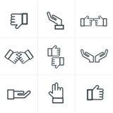 De zwarte pictogrammen van het handgebaar Stock Foto