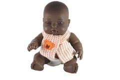De zwarte pop van de baby met sjaal Royalty-vrije Stock Fotografie