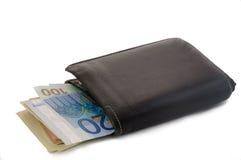 De zwarte Portefeuille van Leer bi-Vouwen Royalty-vrije Stock Foto