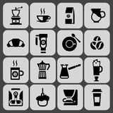 De zwarte reeks van koffiepictogrammen Stock Afbeelding