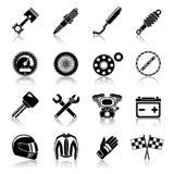 De zwarte reeks van motorfietsdelen Stock Foto