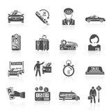 De zwarte reeks van taxipictogrammen Stock Afbeeldingen