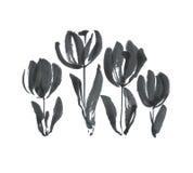 De zwarte schets van de de tulpenbloem van het inktconcept moderne Royalty-vrije Stock Foto