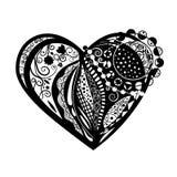 De zwarte schets van de hartkrabbel op witte achtergrond Royalty-vrije Stock Afbeeldingen