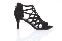 De zwarte schoen van de leerstiletto Stock Fotografie