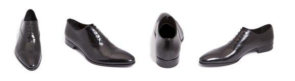 De zwarte schoen van leermensen stock afbeeldingen