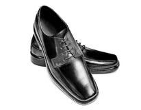 De zwarte schoenen van de leerkleding Stock Foto's