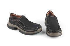 De zwarte schoenen van het kleurenleer Stock Foto