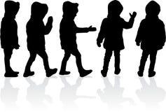 De zwarte silhouetten van kinderensilhouetten Stock Afbeelding