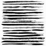De zwarte slagen van de inkt vectorborstel Stock Fotografie
