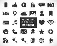 De zwarte Sociale geplaatste pictogrammen van Media royalty-vrije illustratie