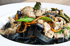 De zwarte spaghetti beweegt Royalty-vrije Stock Fotografie