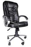 De zwarte stoel van het leerbureau die op wit wordt geïsoleerde Royalty-vrije Stock Foto