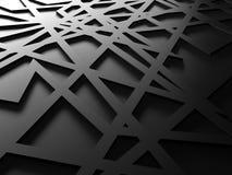 De zwarte teruggegeven achtergrond van het chaosnetwerk Stock Afbeeldingen