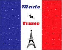 De zwarte toren van Eiffel, de vlag van Frankrijk Stock Afbeelding