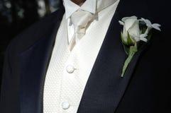 De zwarte tux en band van de bruidegom royalty-vrije stock fotografie