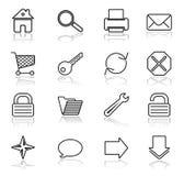 De zwarte van het Web op witte pictogrammen Stock Afbeelding