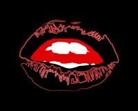 De zwarte van de lippennacht met rode waterverfslag en witte tanden op donkere vector als achtergrond Hallo ween zwarte lippen stock illustratie