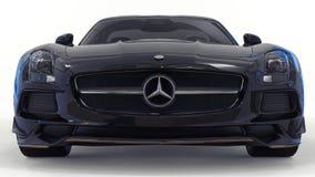 De zwarte van Mercedes-Benz SLS Driedimensionele roosterillustratie Geïsoleerde auto op witte achtergrond het 3d teruggeven royalty-vrije stock afbeeldingen