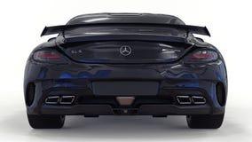 De zwarte van Mercedes-Benz SLS Driedimensionele roosterillustratie Geïsoleerde auto op witte achtergrond het 3d teruggeven Stock Fotografie