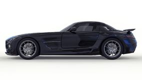 De zwarte van Mercedes-Benz SLS Driedimensionele roosterillustratie Geïsoleerde auto op witte achtergrond het 3d teruggeven Royalty-vrije Stock Foto's