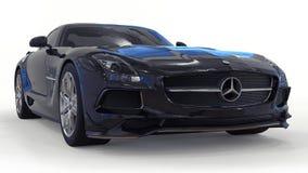 De zwarte van Mercedes-Benz SLS Driedimensionele roosterillustratie Geïsoleerde auto op witte achtergrond het 3d teruggeven stock afbeeldingen
