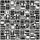 De Zwarte van meubilairpictogrammen Stock Afbeeldingen