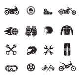 De zwarte van motorfietspictogrammen met vervoerssymbolen geïsoleerde vector die wordt geplaatst vector illustratie