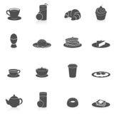 De Zwarte van ontbijtpictogrammen Stock Foto's