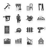 De Zwarte van timmerwerkpictogrammen Stock Foto's