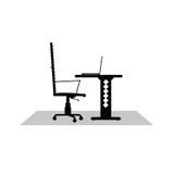 De zwarte vectorillustratie van het computerbureau Royalty-vrije Stock Fotografie