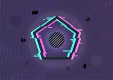 De zwarte vectorillustratie van het minimale geometrische gebroken kader van de pentagoonvorm met glitch voert brending ontwerp u royalty-vrije illustratie