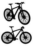 De zwarte Vectorsilhouetten van Mountainbikesfietsen Stock Afbeelding