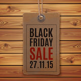 De zwarte Verkoop van de Vrijdag Prijskaartje op houten planken Royalty-vrije Stock Afbeelding