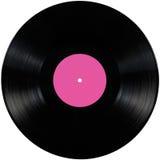 De zwarte vinylschijf van het verslag lp album, geïsoleerde langspeelschijf, de lege ruimte van het etiketexemplaar in roze Stock Fotografie