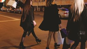 De zwarte vrijdagnacht het winkelen hobby van de vrouwenvrije tijd stock videobeelden