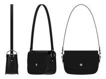 De zwarte zak van het damesleer met schouderriem Royalty-vrije Stock Foto's