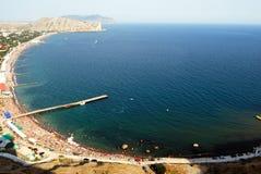 De Zwarte Zee in Stad Sudak Royalty-vrije Stock Afbeelding