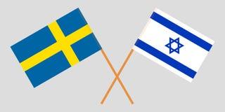 De Zweedse en Israëlische vlaggen royalty-vrije illustratie