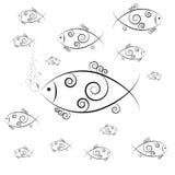 De zwemmende en blazende bellen van vissen Stock Afbeelding