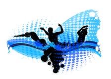 De zwemmende Illustratie van het Silhouet Royalty-vrije Stock Afbeeldingen