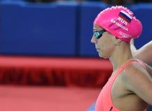 De zwemmer Yulia YEFIMOVA RUS van Olympian en wereldkampioen Stock Foto's