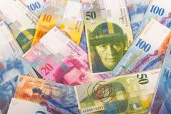 de Zwitserse bankbiljetten van 100, 50, 20, en 10 CHF Royalty-vrije Stock Foto