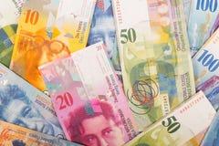 de Zwitserse bankbiljetten van 100, 50, 20, en 10 CHF Royalty-vrije Stock Afbeeldingen