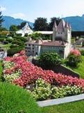 De Zwitserse, beroemde gebouwen van Miniatur in Zwitserland stock afbeelding