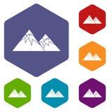De Zwitserse geplaatste pictogrammen van alpen royalty-vrije illustratie