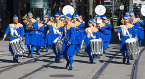 De Zwitserse Nationale parade van de Dag in Zürich Stock Foto