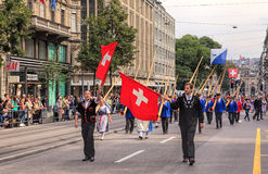 De Zwitserse Nationale parade van de Dag in Zürich Stock Foto